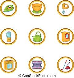Home appliances icon set, cartoon style
