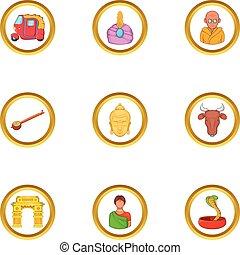 India tourist icon set, cartoon style - India tourist icon...