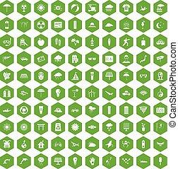 100 sun icons hexagon green