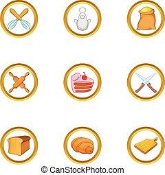 Bakery hobby icon set, cartoon style