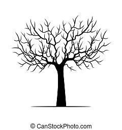 Black Winter Tree. Vector Illustration.