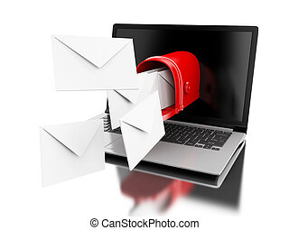 3d Mail delivery from computer laptop. - 3d illustration....