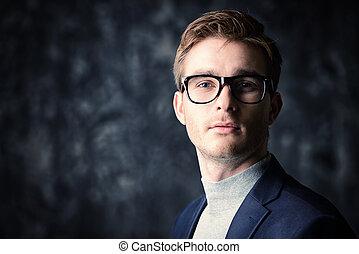 experienced financier man - Business concept. Portrait of a...
