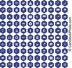 100 asian icons hexagon purple - 100 asian icons set in...