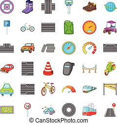 Traffic in city icons set, cartoon style