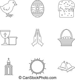 Easter icon set, outline style