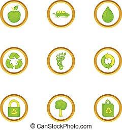 Green icons set, cartoon style