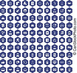 100 coherence icons hexagon purple - 100 coherence icons set...