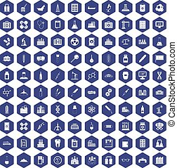 100 chemical industry icons hexagon purple - 100 chemical...