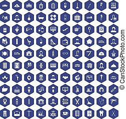 100 craft icons hexagon purple - 100 craft icons set in...