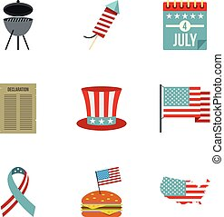 Independence day icon set, flat style