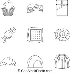 Candies icon set, outline style