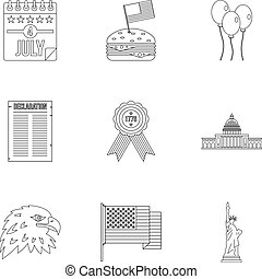 Fourth of July day icon set, outline style