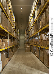 storage room - interior of storage of boxes stack and...