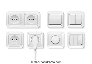 Vector realistic white switches and socket set isolated on...