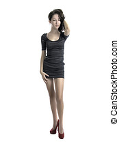Pretty busdiness woman in a short dress - Sexy businesswoman...