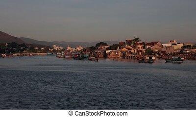 Riverside Time Lapse Clip River Cai Nha Trang Vietnam -...