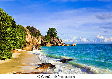 Tropical beach Source D'Argent at island La Digue,...
