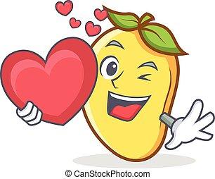 mango character cartoon mascot with heart