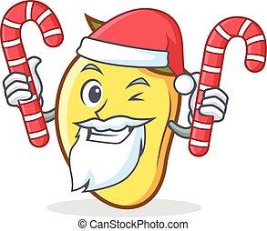 Santa with candy mango character cartoon mascot