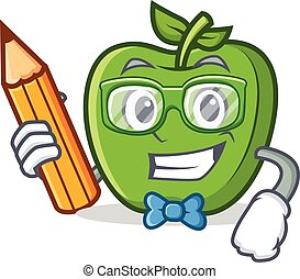 Student with pencil green apple character cartoon