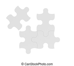 3d rendering of four white puzzle pieces isolated on white...