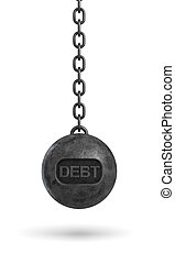3d rendering of a heavy black wrecking ball with a word DEBT...
