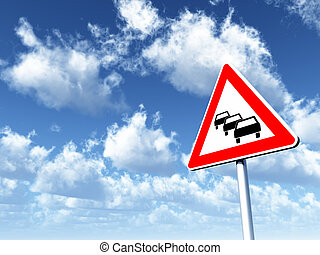traffic jam - road sign traffic jam under cloudy blue sky -...