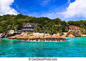 Hotel at tropical beach, La Digue, Seychelles - vacation...