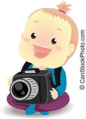 Baby holding a Digital Camera - Vector Illustration of Baby...