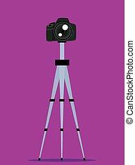 Digital Camera on Tripod - Vector Illustration of Digital...