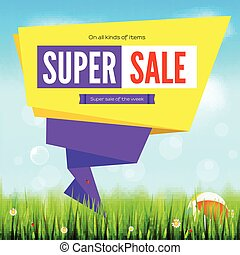 Super sale summer background, cut paper art style for ad banner. Grass, daisy flowers, ladybugs in grass on backdrop from sky with clouds. Origami paper speech bubble for ad of sales