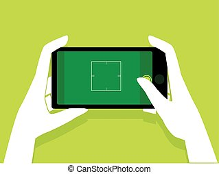 Hand Holding a Mobile Phone taking a Picture showing Blank Screen