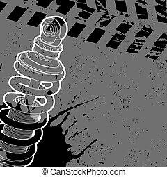 Shock absorber post on a dark background - Shock absorber...