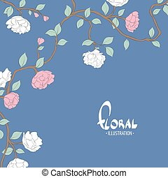 Delicate flowers on a blue white background