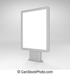 Black blank 3D illustration light box or citylight mockup ....