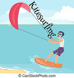 kitesurfing water extreme sports, isolated design element...