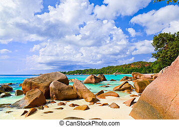 Beach Anse Lazio at island Praslin, Seychelles - vacation...