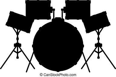 Drum Kit Silhouette - Cartoon Drum Kit in Silhouette Vector...