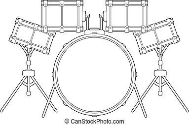 Drum Kit Outline - Cartoon Drum Kit Line Drawing Vector...