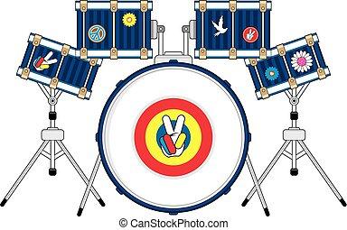 Hippie Drum Kit - Cute Cartoon Flower Power Hippies Drum Kit...