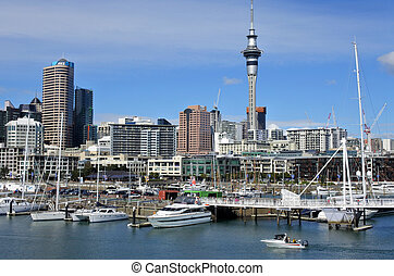 Auckland skyline from Viaduct Harbour Auckland is the...