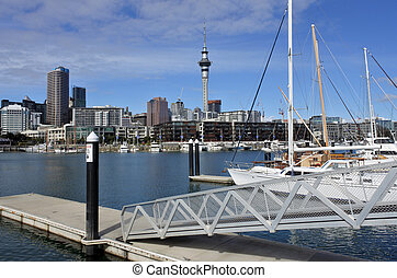 Auckland Viaduct Harbour, a former commercial harbour on...