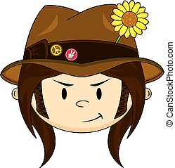 Cute Hippie Boy - Cute Cartoon Flower Power Hippie Boy in...