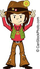 Cute Cartoon Hippie Boy - Cute Cartoon Flower Power Hippie...
