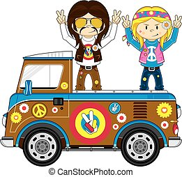 Hippies & Pick-Up Van - Cute Cartoon Flower Power Hippies...