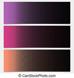 Halftone dot pattern horizontal banner - vector graphic from circles in varying sizes