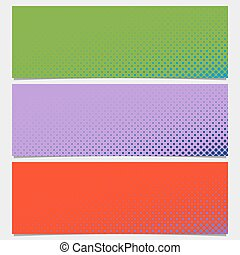 Halftone circle pattern banner background - vector design from dots in varying sizes