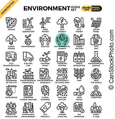 Environment & eco concept detailed line icons