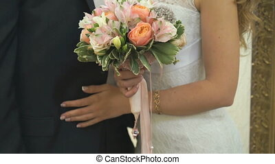 Close-up of bride and groom. Happy best day - Close-up of...